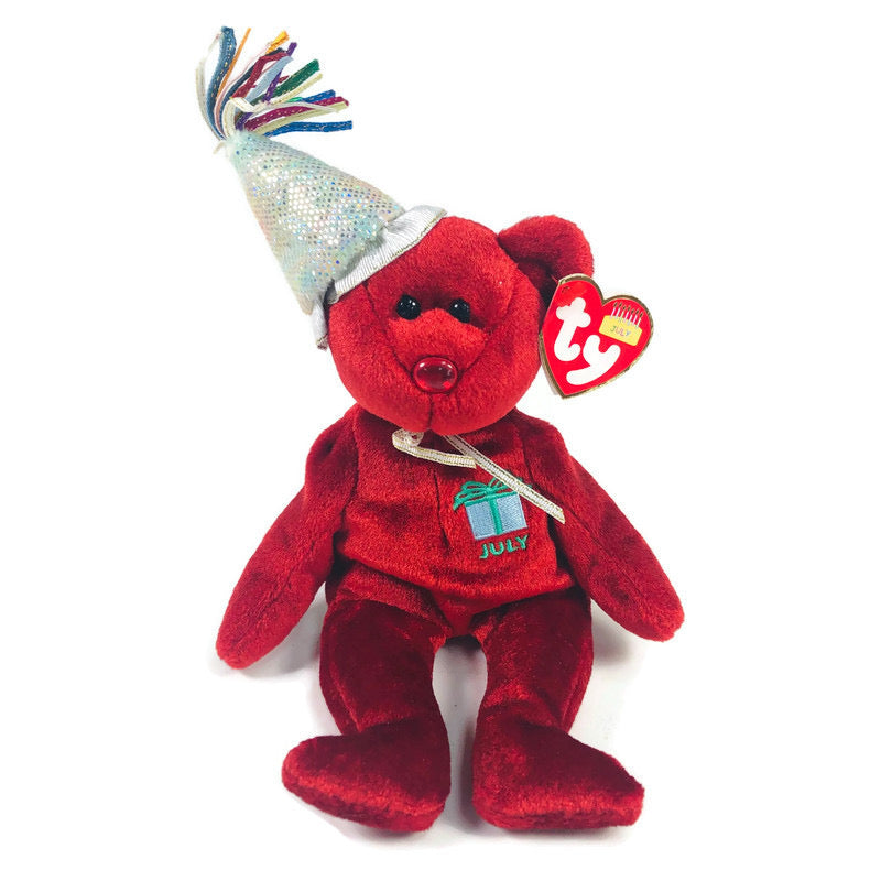 July Birthday 2002 Red Bear TY Beanie Baby