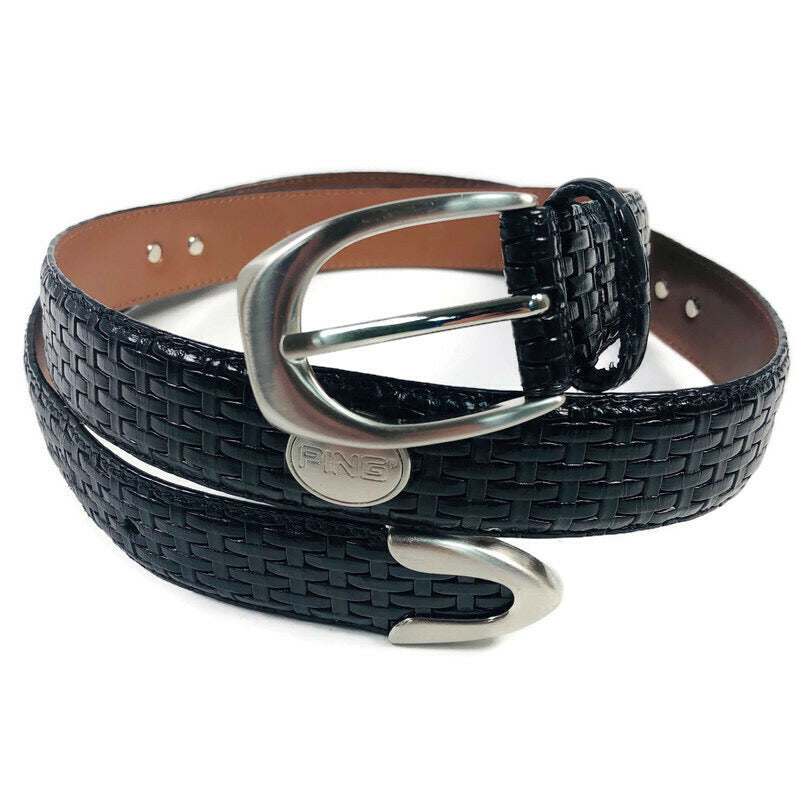 Ping Golf Silver Accent Mens Black Leather Belt