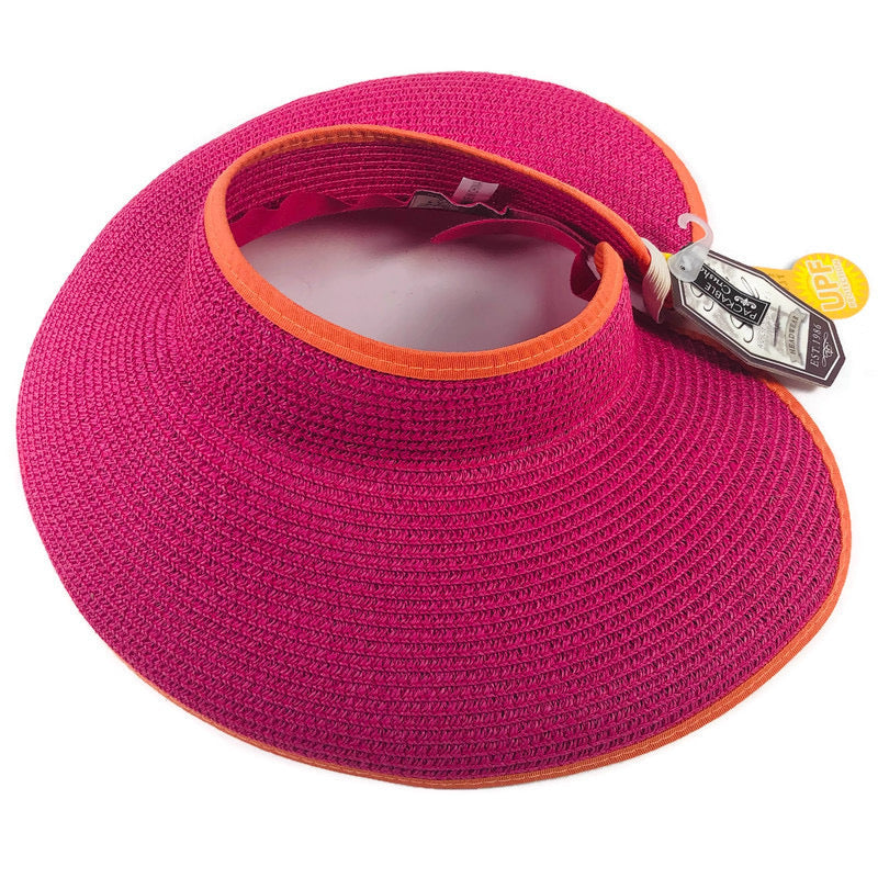 Sun N Sand Womens Pink Orange Adjustable Visor Hat