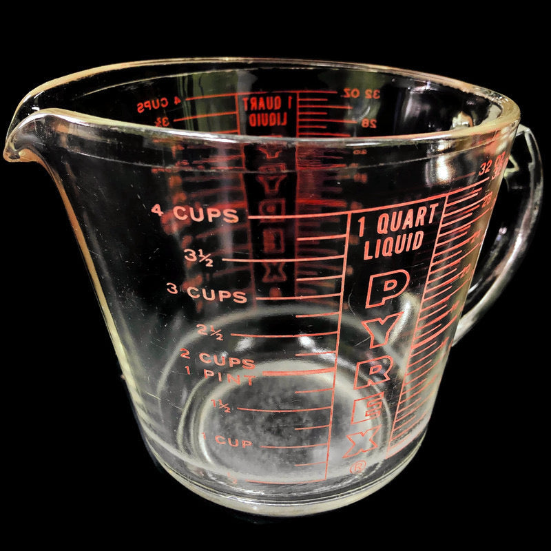 Pyrex D Handle 4 Cup 1 Qt 32 Oz Red Clear Measuring Cup 532