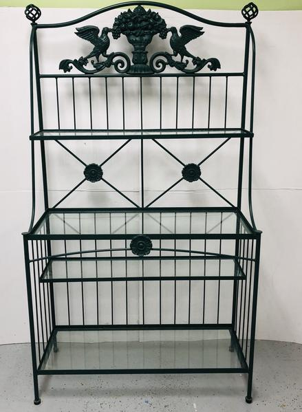 Wrought Iron Metal 4 Glass Shelf Ornate Green Dining Bakers Rack
