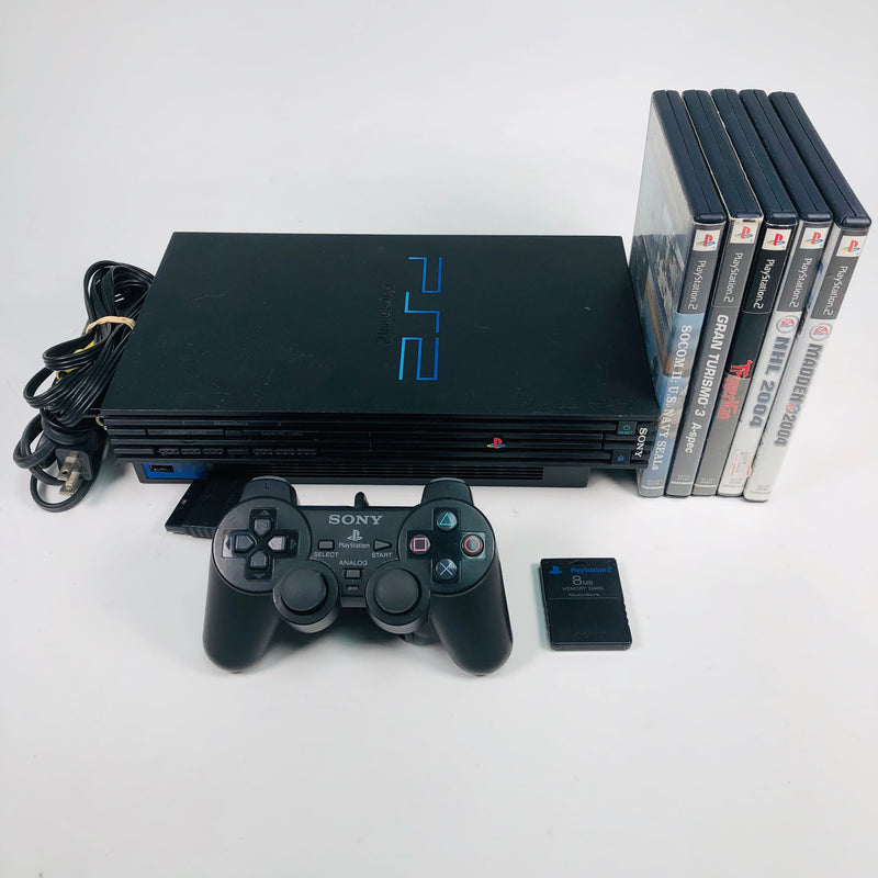 Sony Playstation 2 PS2 Console System Bundle + Controller + 5 Games Lot