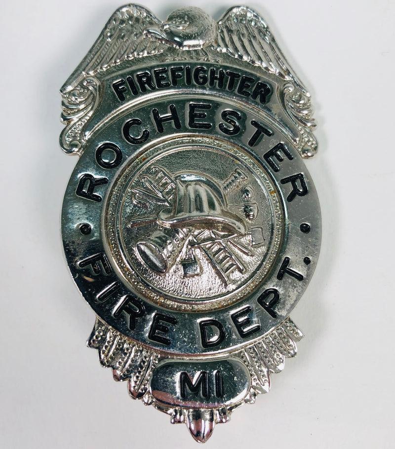 Rochester Michigan MI Fire Department (Dept) Firefighter Blackinton Badge Pin