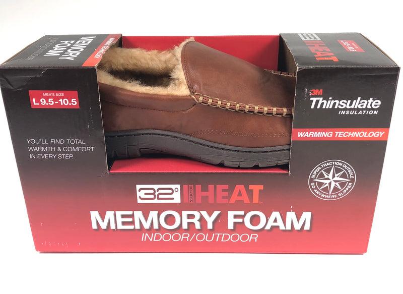 32 Degrees Heat Memory Foam Thinsulate Tan Mens Large 9.5-10.5 Moccasins Slippers RN129919