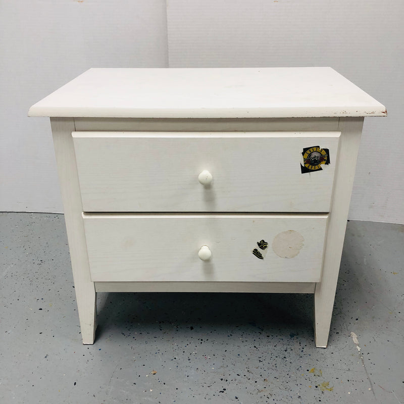 2 Drawer White Bed Side Table Nightstand