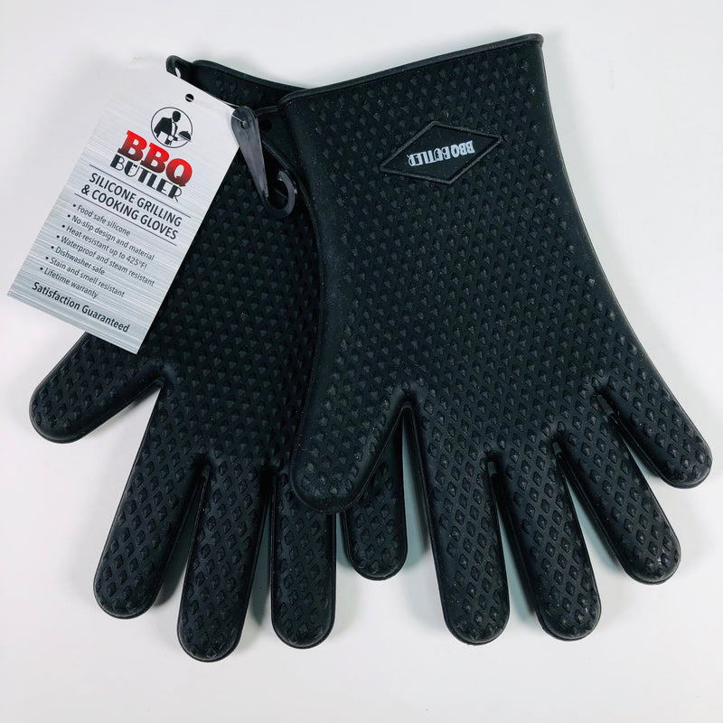 BBQ Butler Silicone Black Grilling & Cooking Gloves