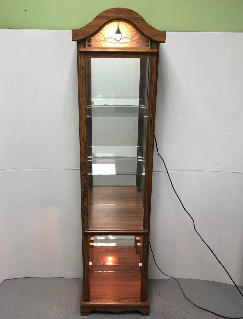 Illumintaed 3 Glass Shelf Curio Display Cabinet