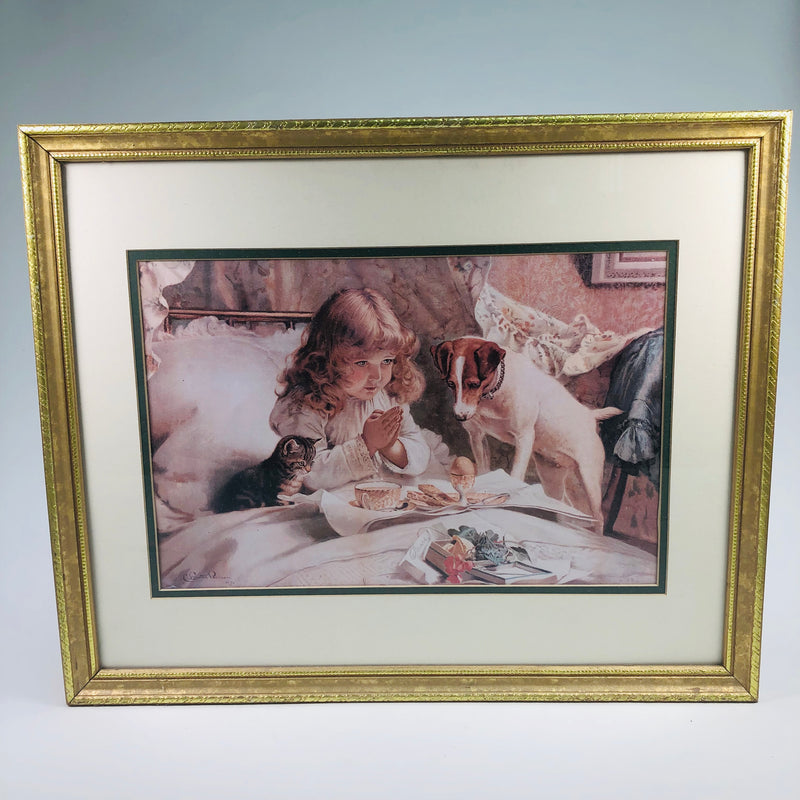 "Charles Burton Barber 1894 22x16"" ""Suspense"" Praying Girl Dog Cat Framed Picture Print"