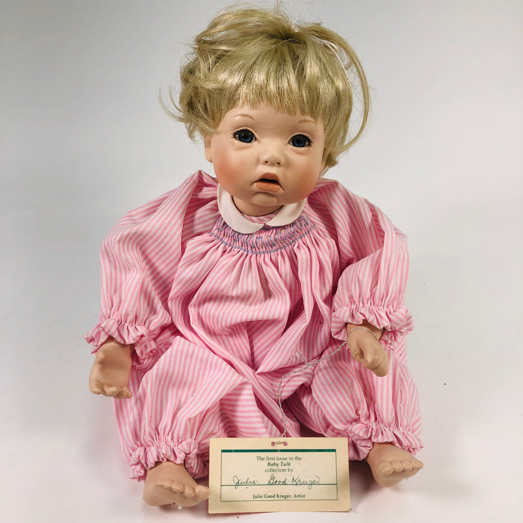 Julie Good-Kruger 1993 Ashton Drake Pink Porcelain Baby Talk Collection Doll 76621-HT