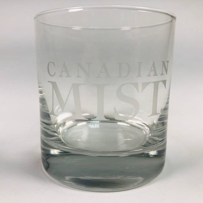 Canadian Mist Whiskey Lowball Rocks Etched Glass Barware Cocktail