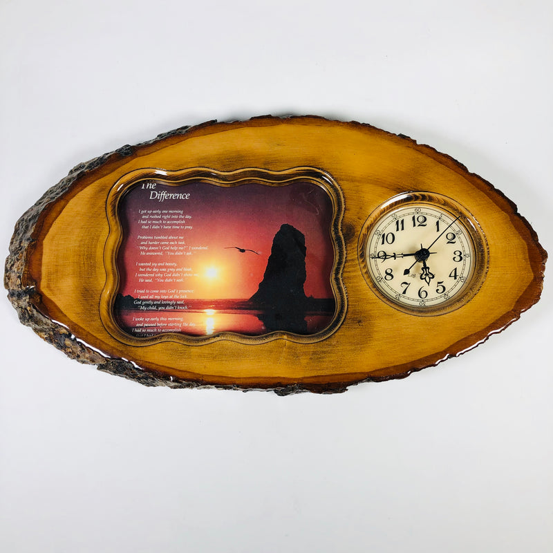 Log N Time Photo Clock On Replicated Wood Wall Hanger