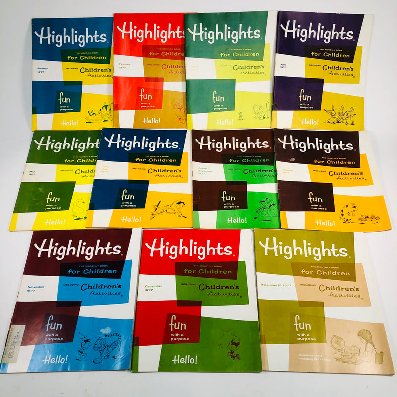 Highlights For Children Magazines 1977 Complete Set Lot January-December