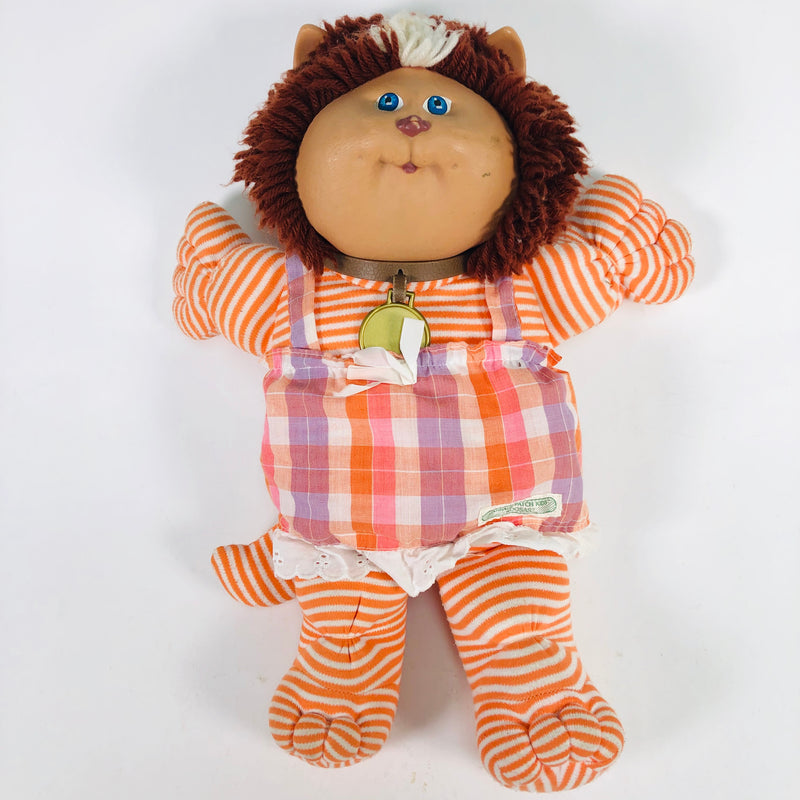 Cabbage Patch Kids CPK Koosas Lion Doll Orange Stripes Plaid Dress