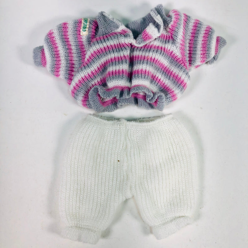 Cabbage Patch Kids CPK Pink Grey White Sweater & White Sweat Pants Outfit