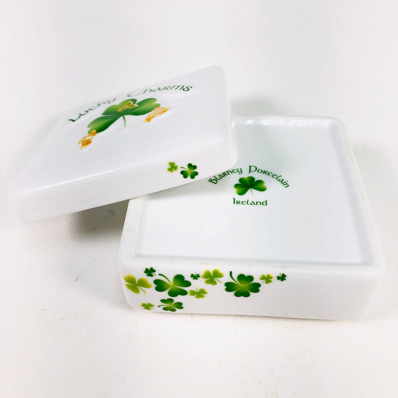 Blarney Porcelain Ireland Lucky Charms Shamrock Trinket Box