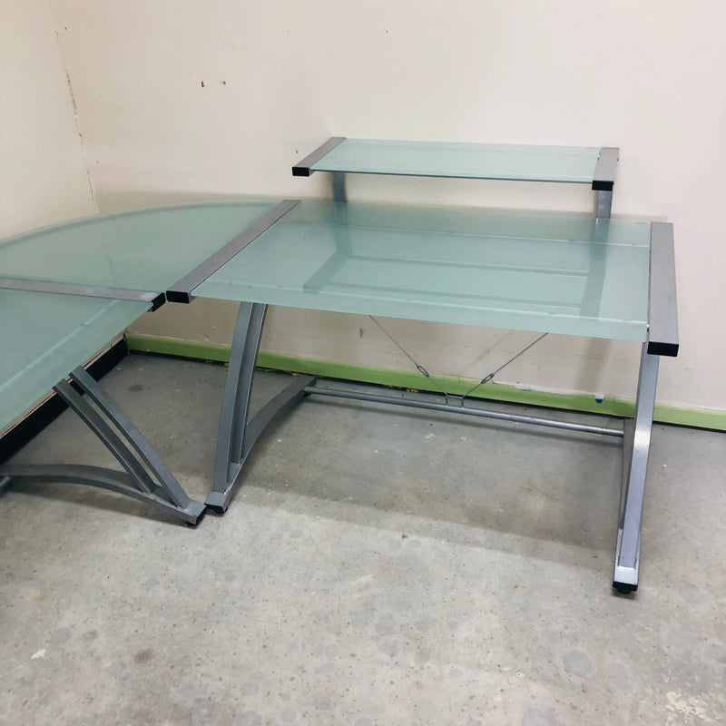 Glass 3 Piece L Shaped Computer Desk
