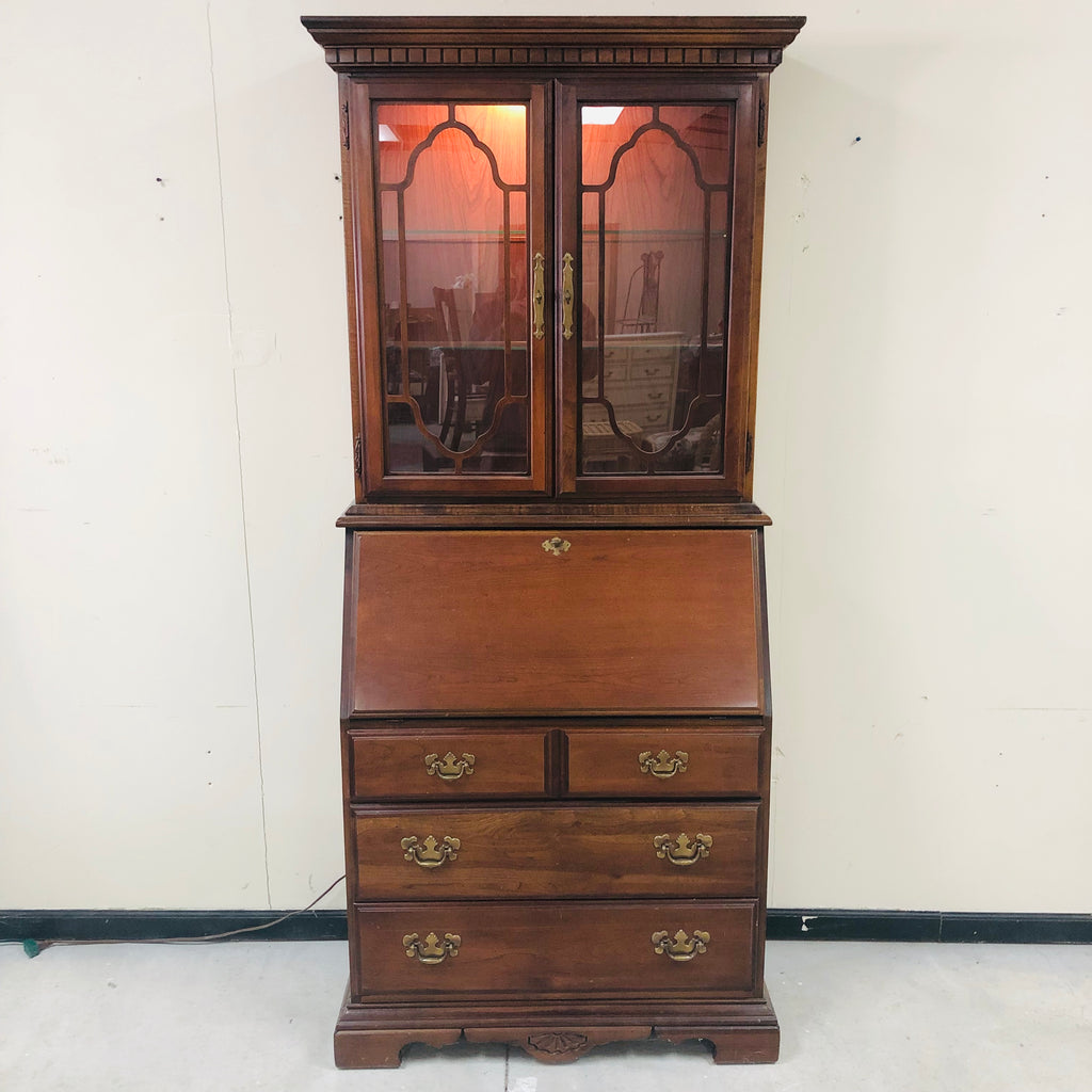 American Drew Secretary Desk w/ Illuminated Display Hutch