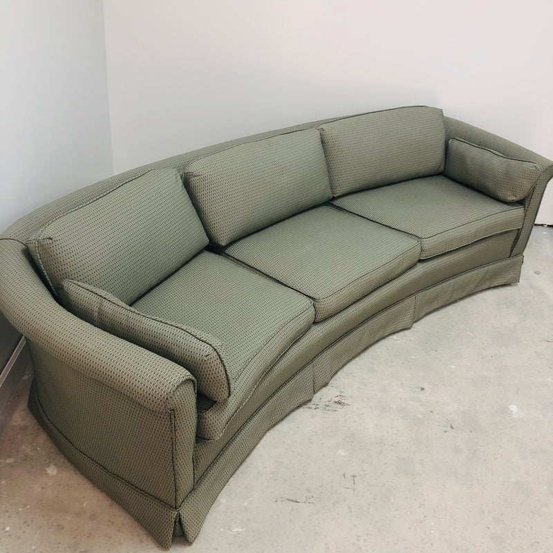Green Curved Rolled Arm Short Back 3 Seat Sofa Couch