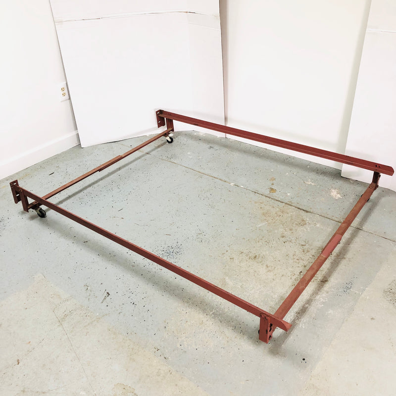 Metal Double Full Bed Frame On Wheels
