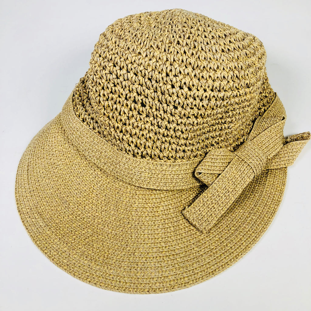 Liz Claiborne Straw Stretch Fit Hat Wide Brim