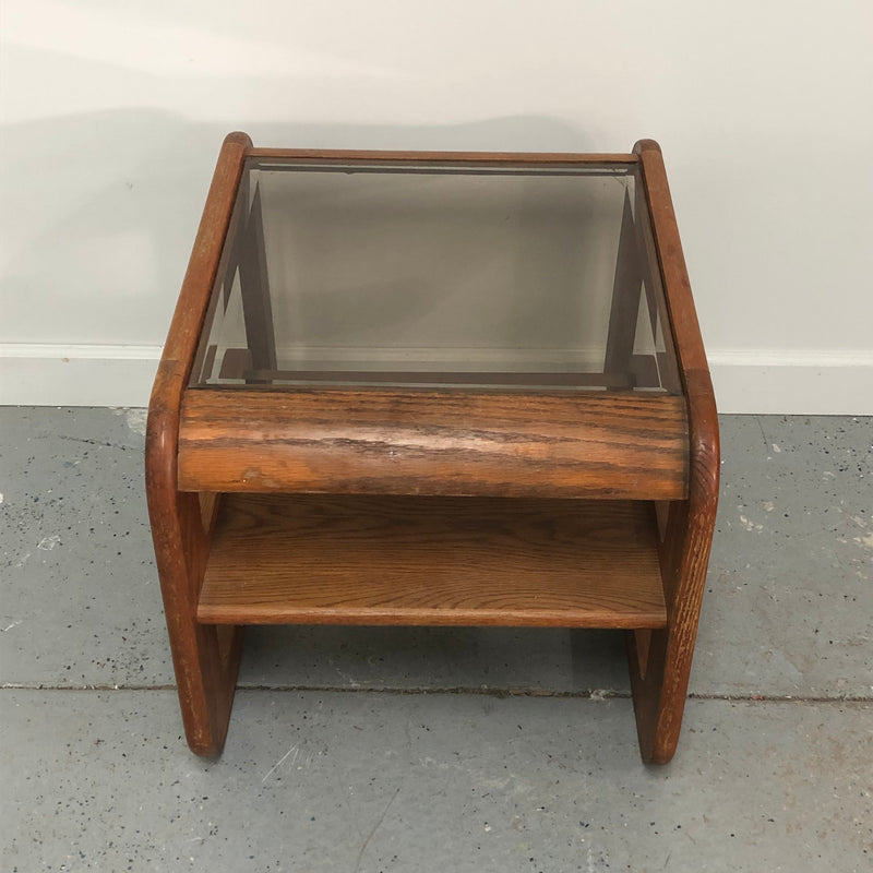 Standard Glass Top Tier Side End Table
