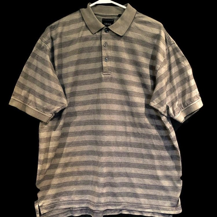 IZOD Double Mercerized Mens Short Sleeve Gray Polo