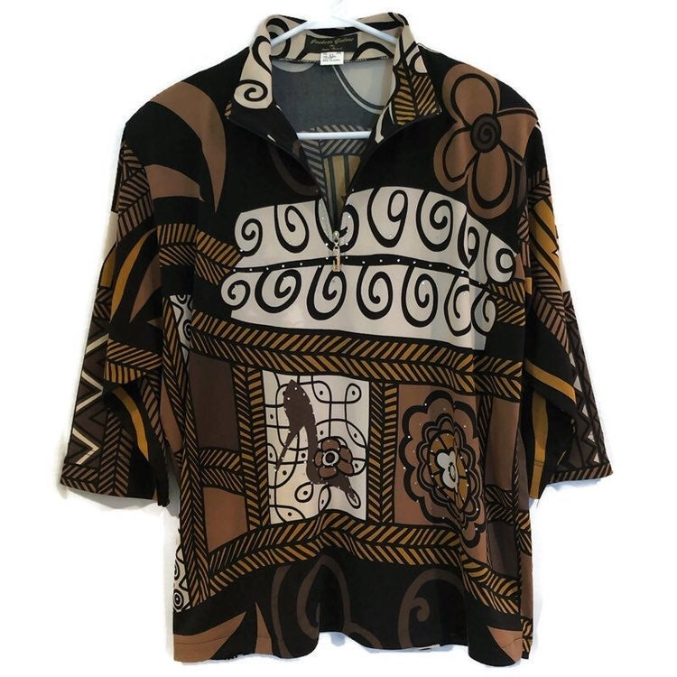 Jackets Galore by John Farah Womens 3/4 Sleeve 1/4 Zip Shoulder Pads Black Brown Jewel Blouse