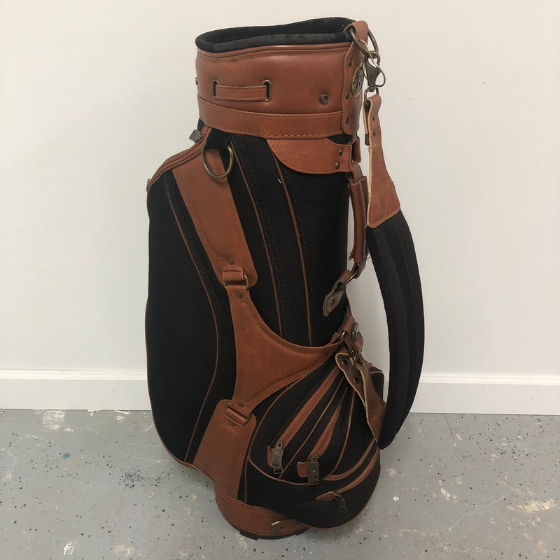 Knight Black Brown Leather Golf Club Bag