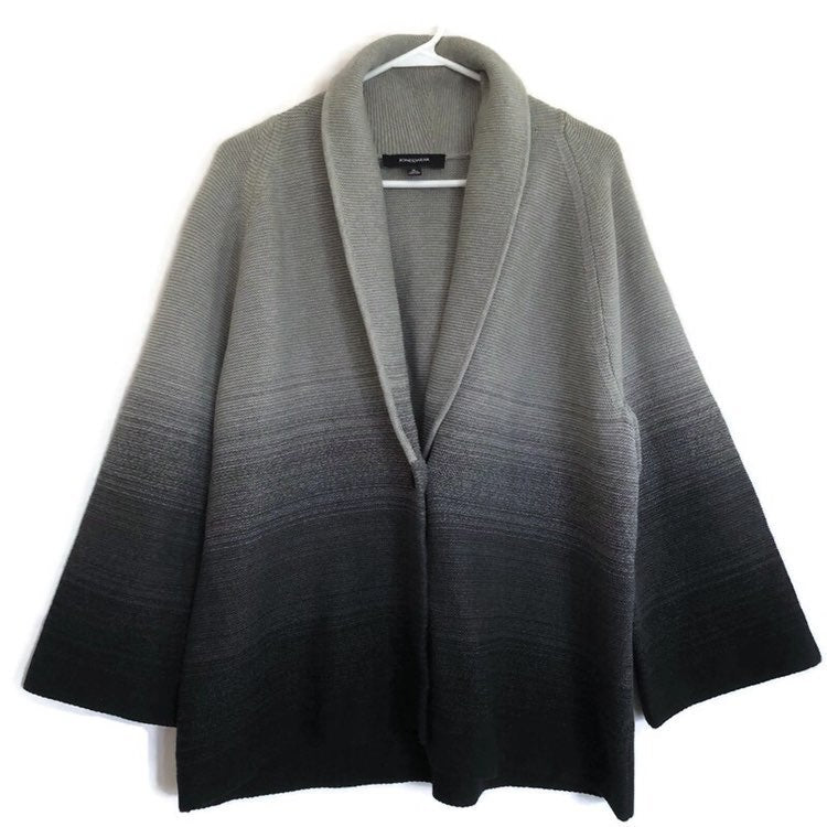 Jones Wear Knit One Button Wide 3/4 Sleeves Grey Cardigan