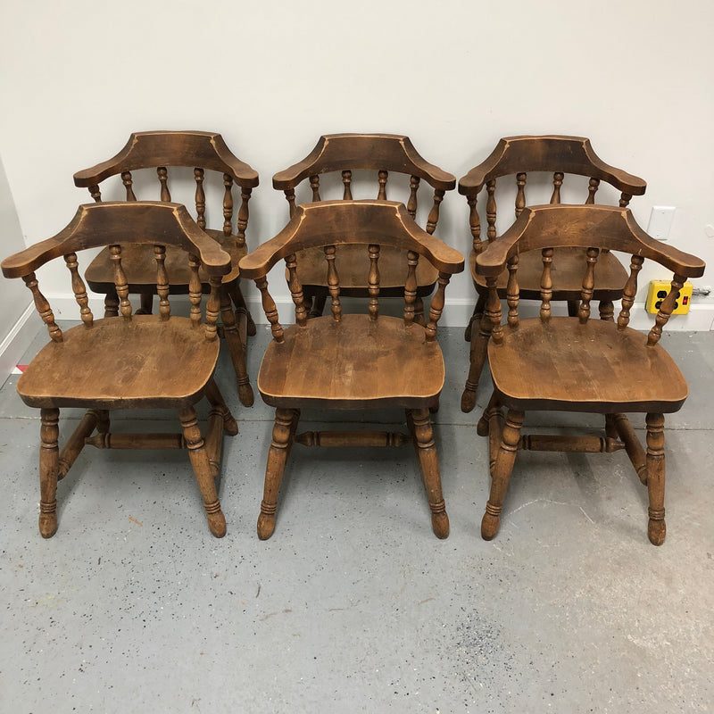 (6) Pine Solid Wood Short Spindal Back Chairs