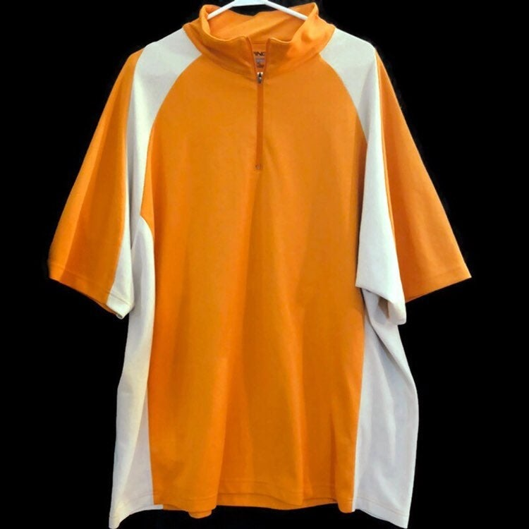 PING Collection Performance Dynamics Quarter Zip Orange Mens Short Sleeve Polo Shirt