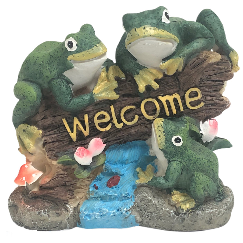 "Frogs On A Log Resin 6"" Welcome Sign Garden Statue"