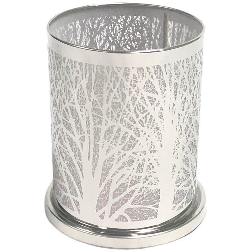 PartyLite Enchanted Woodland Silver Trees Candle Sleeve Cover Votive Hurricane