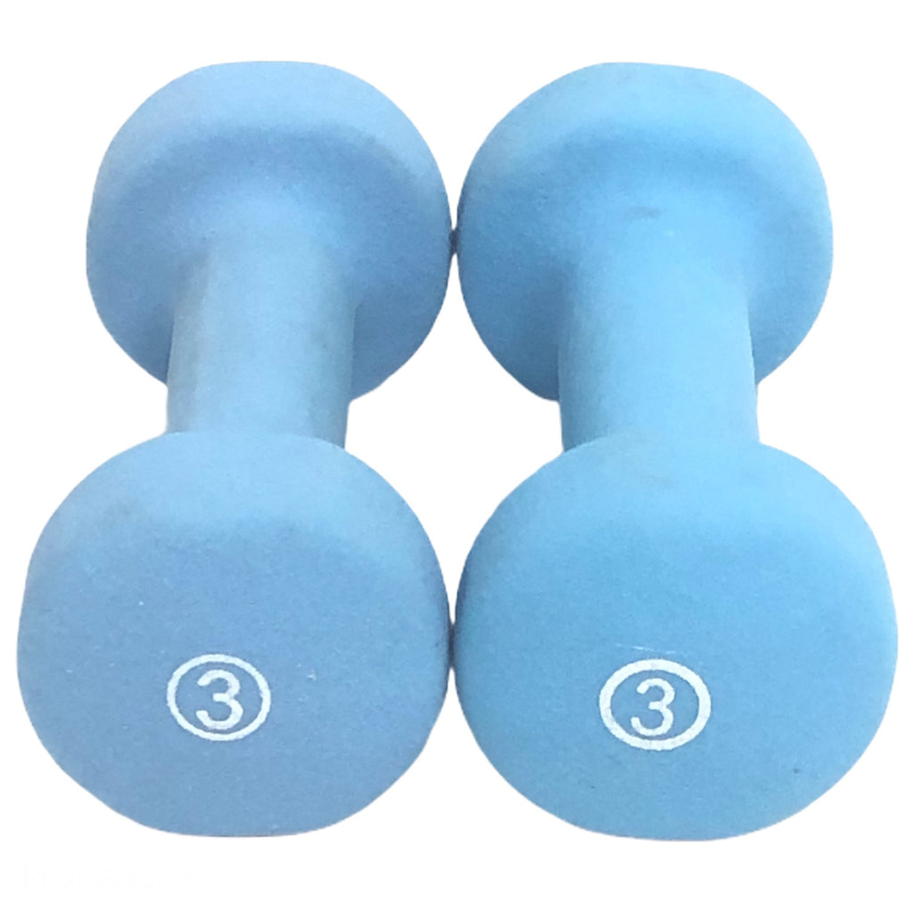 (2) 3 Lb Light Blue Grip Hand Weight Dumbbells