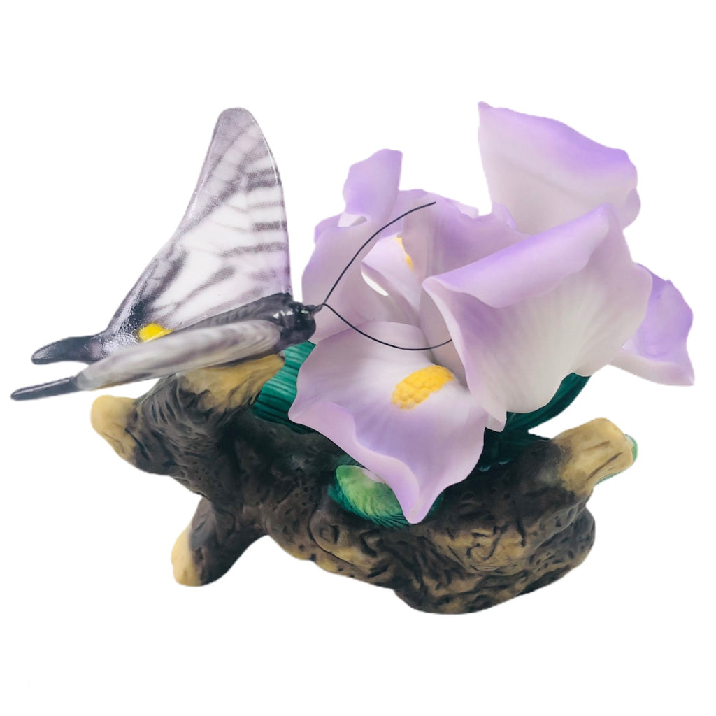 Avon Iris Monarch Purple White Butterfly Flower Figurine