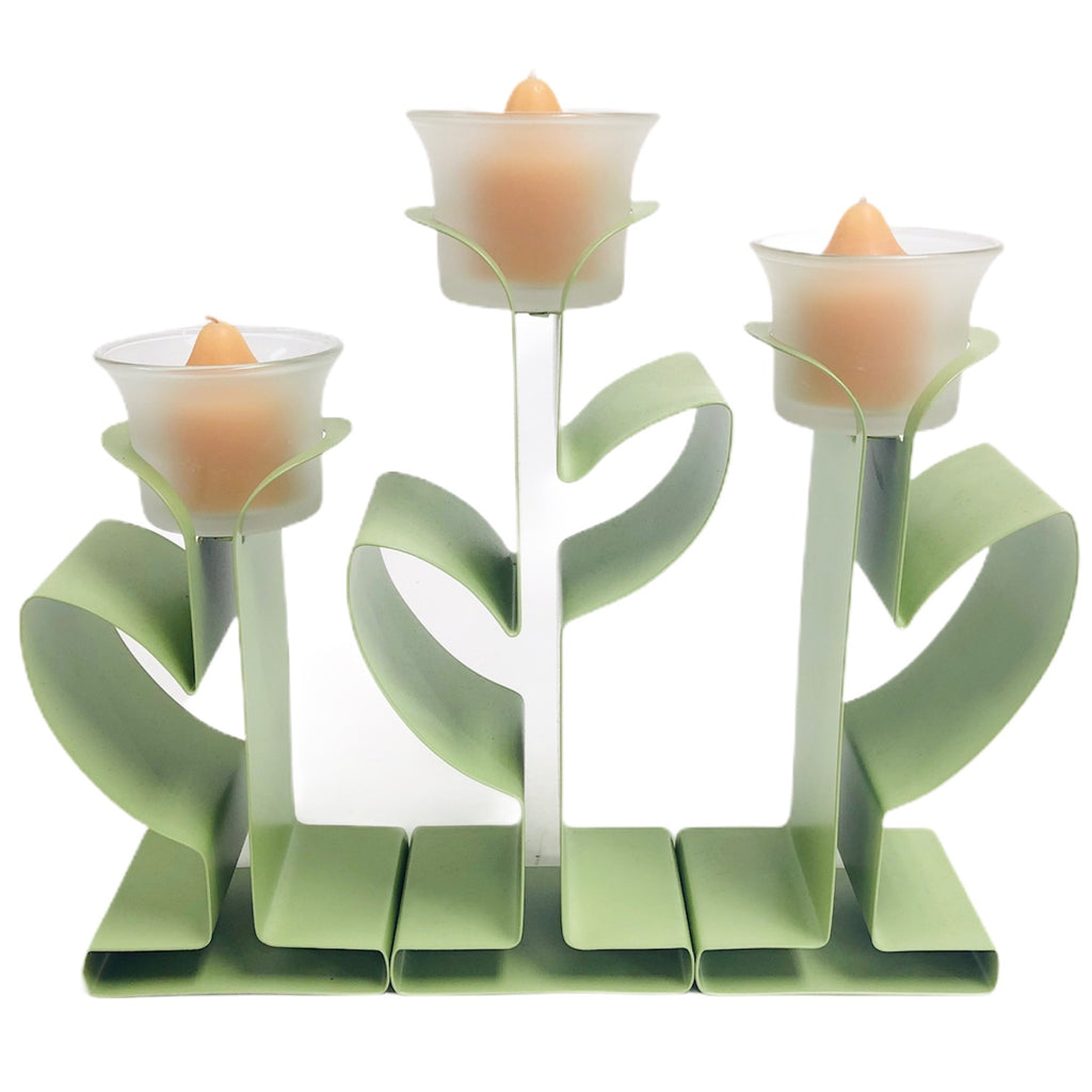 "PartyLite 3 Pc Green Flowers 9""x10"" Metal Candle Stand Holder Set"