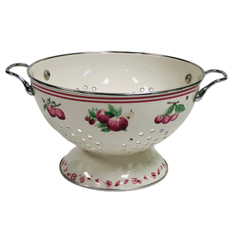 Pfaltzgraff Delicious Apple Flower Metal Enamel Pedestal Colander Strainer