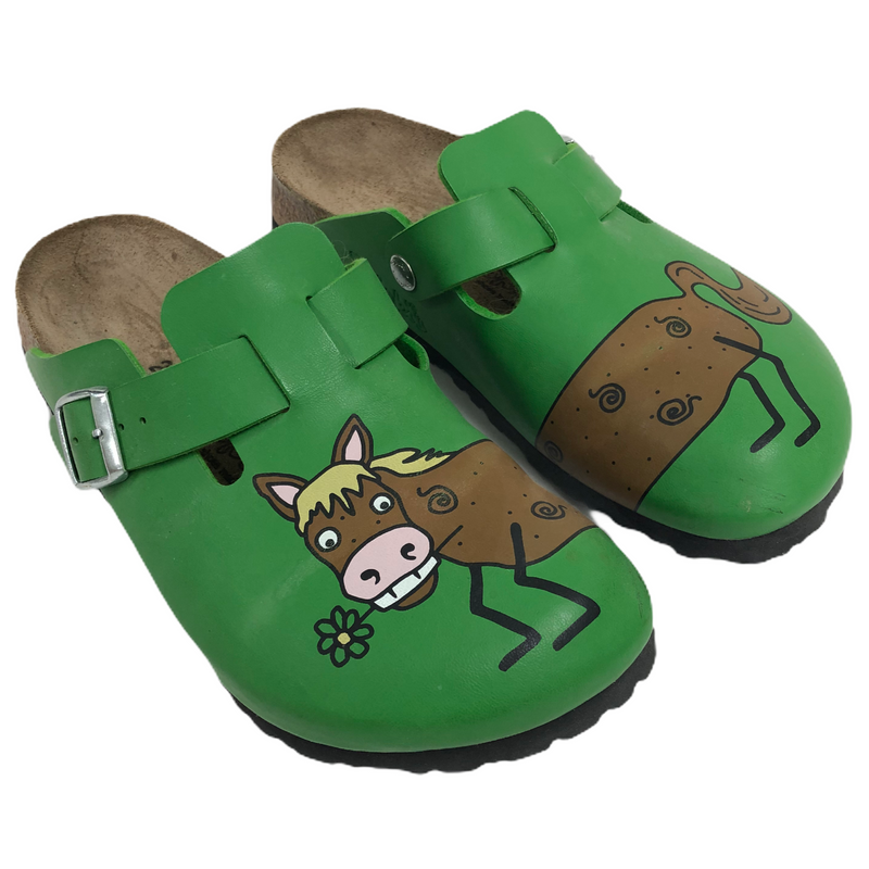 Birkenstock Birkis Green Leather Horse Mule Clog Shoes
