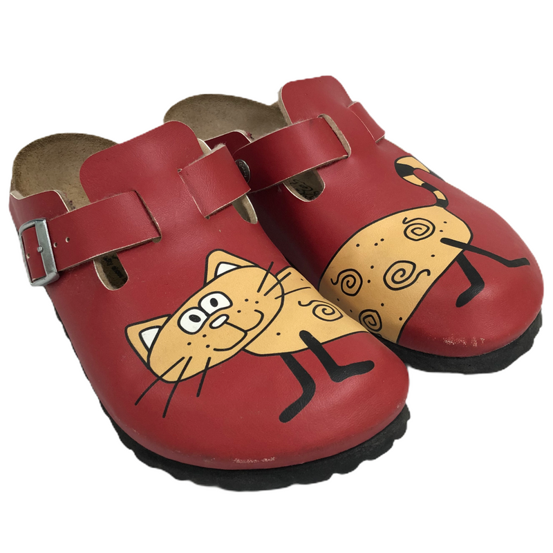 Birkenstock Birkis Red Leather Cat Mule Clog Shoes