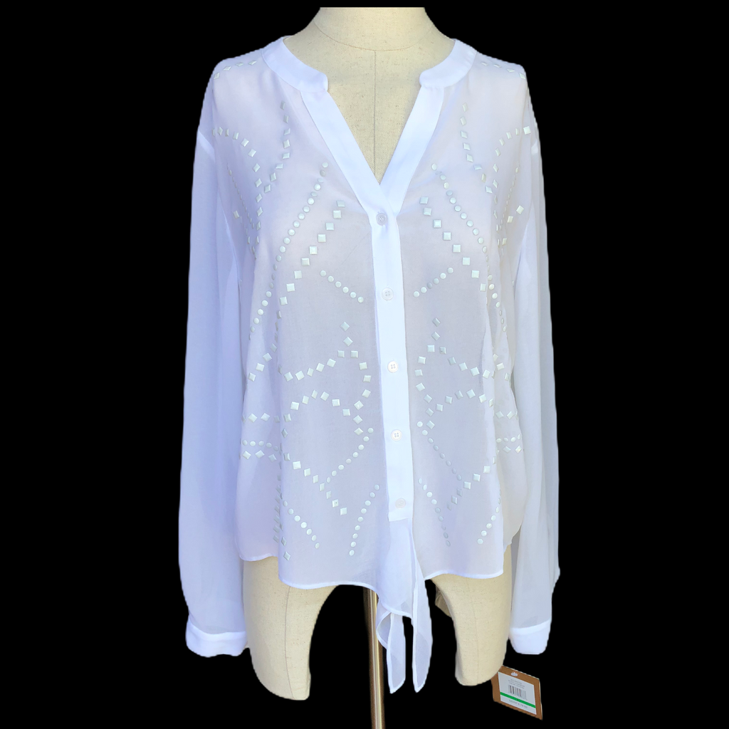 Ellen Tracy Womens Sheer Long Sleeve Button Down Jeweled Blouse