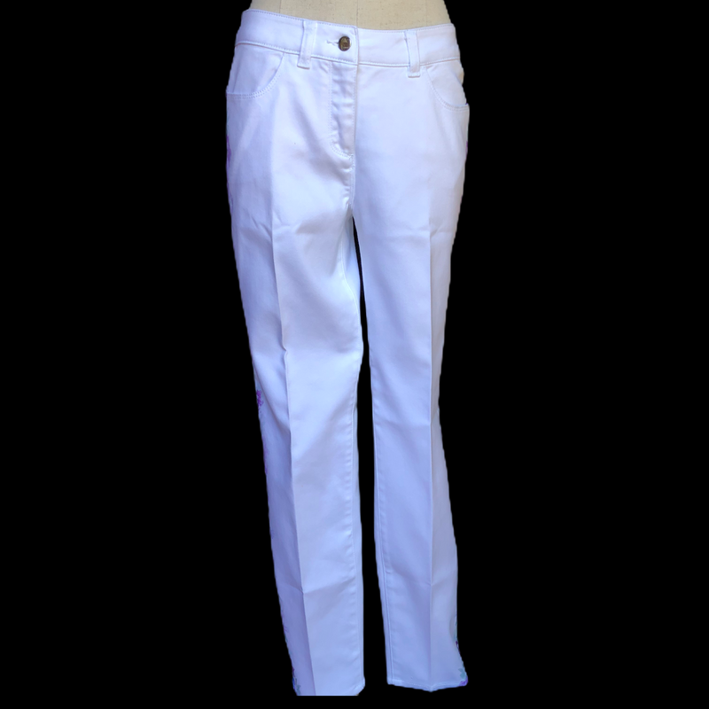 Peter Nygard White Romantic Garden Stretch Jeans