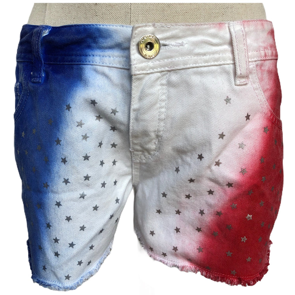 Justice Jeans Womens Simply Low Red White Blue Patriotic Silver Stars Shorts
