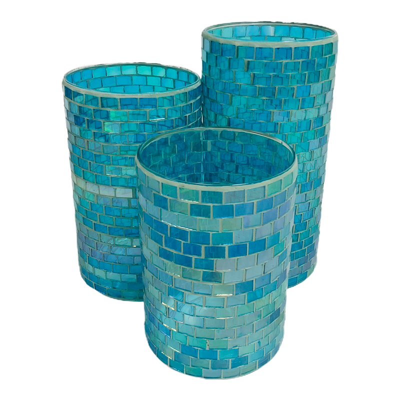 "(3) Valerie Parr Hill Blue Mosaic Glass Jar 7"" 8.5"" 10"" Candle Holders"