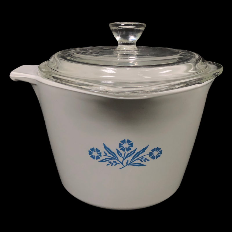 Corning Ware Blue Cornflower 1 Qt Sauce Maker Pan P-55-B w/ Glass Lid