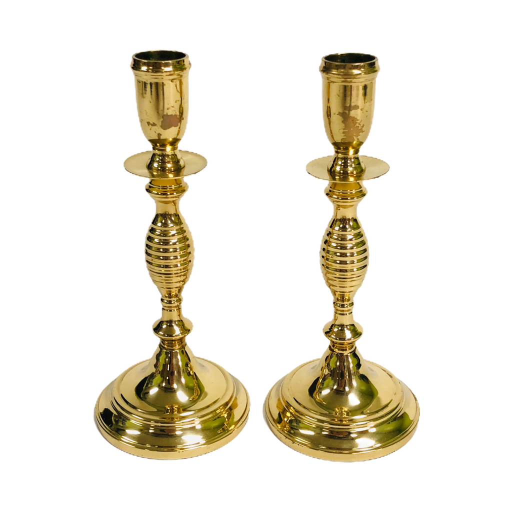 "(2) Valsan Brass Pair 7 3/4"" Candle Stick Holders"