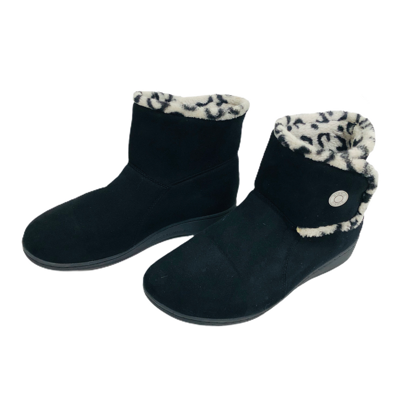 Vionic Womens Black Faux Fur Lined Ankle Boots