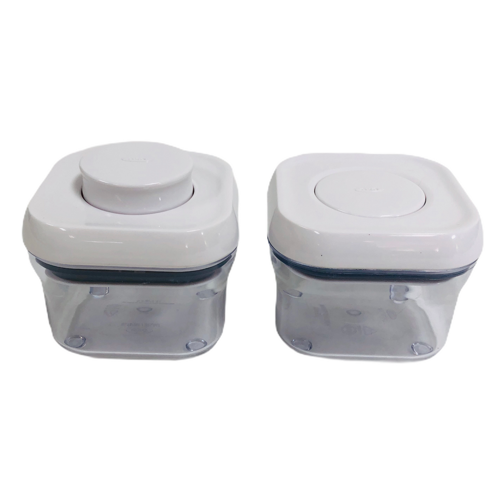 (2) OXO Good Grips Button Pop Airtight Seal Lid .3 Qt. / .3 L Storage Containers
