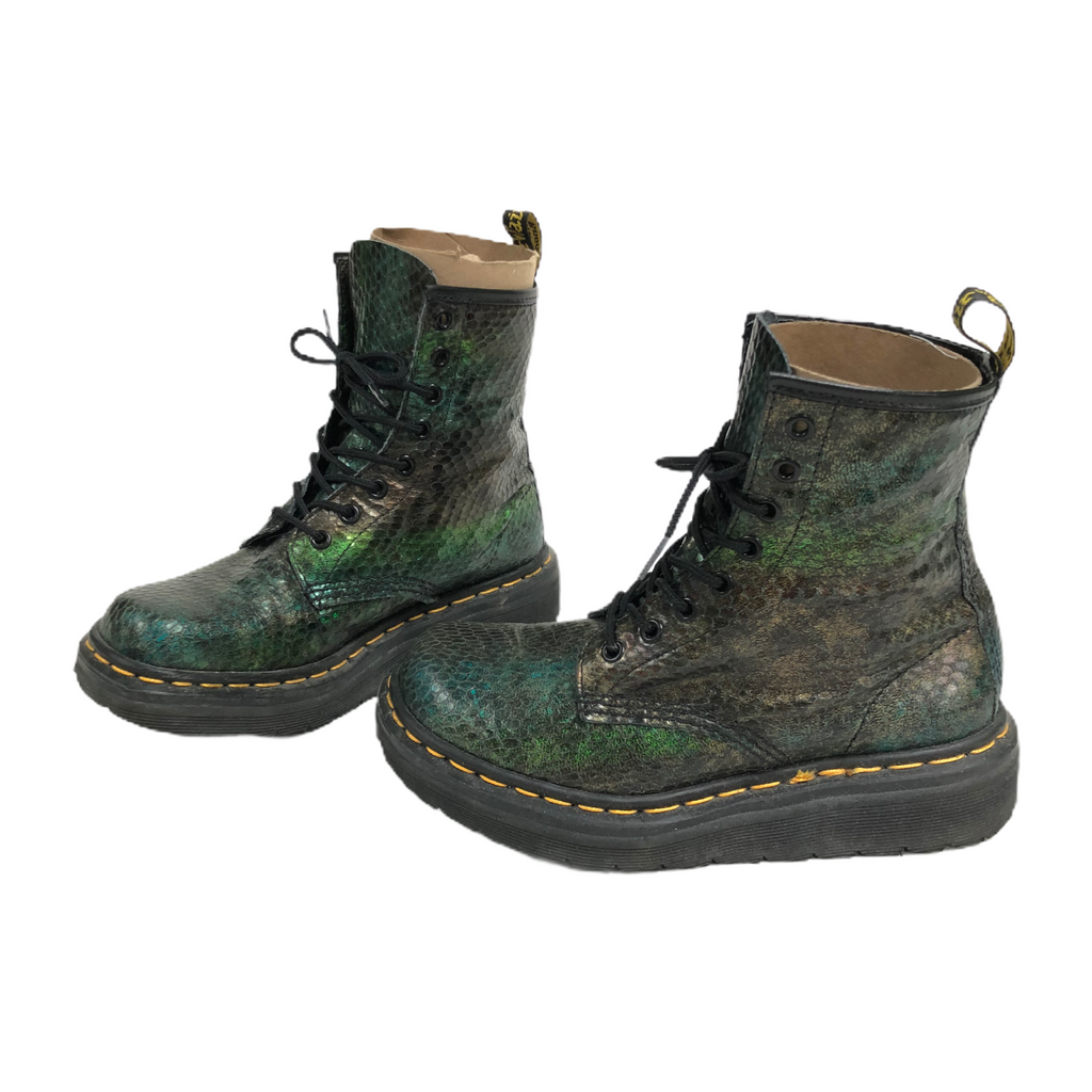 Dr Doc Martens Air Wair Womens Snakeskin Leather Lace Up Combat Boots 1460