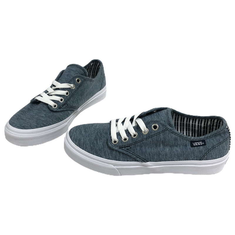 Vans Off The Wall Womens Canvas Blue Denim Lace Up Skater Shoes TB4R