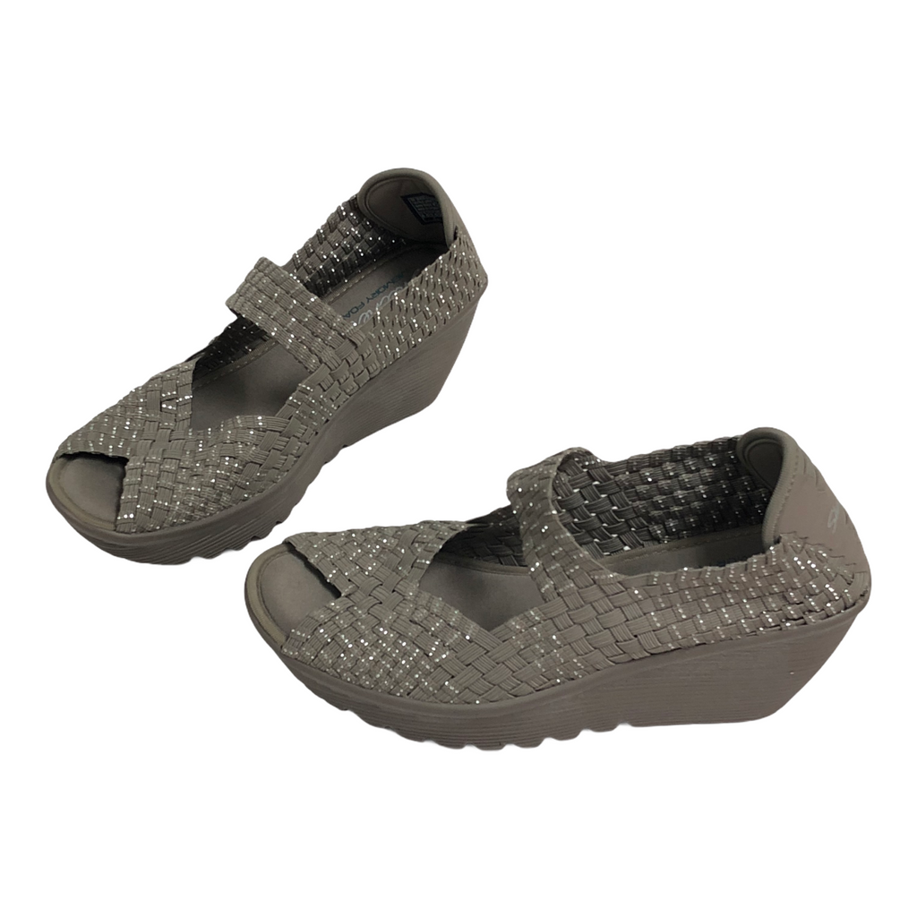 Sketchers Womens Taupe Elastic Slip On Wedge Sandals